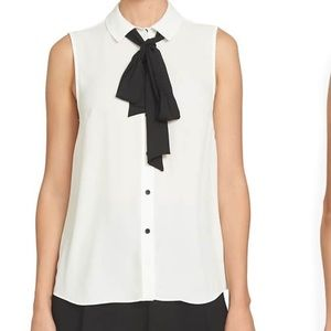 Cece white sleeveless blouse with black tie szM